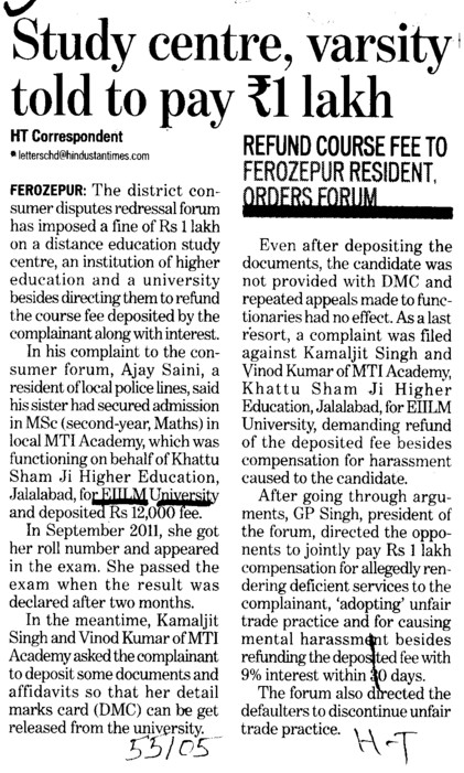 Study centre, varsity told to pay Rs 1 lac (EIILM University)