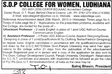 Asstt Professor (SDP College for Women)