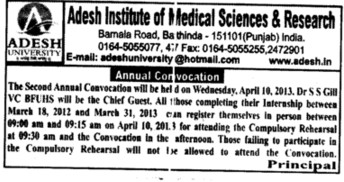 2 nd Annual Convocation (Adesh Institute of Medical Sciences and Research)