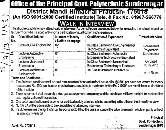 Civil Engg Lecturer (Government Polytechnic College)