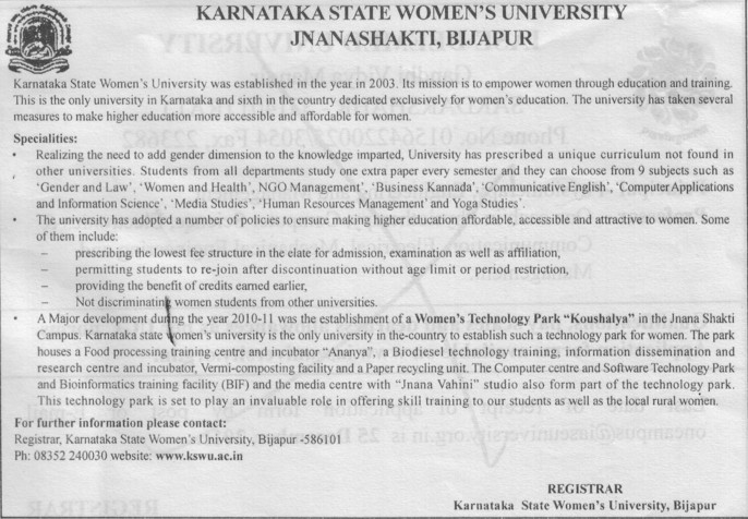 Womens Tech. Park Koushalya (Karnataka State Women University)