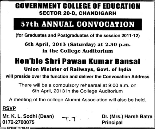 57th Annual convocation (Government College of Education (Sector 20))