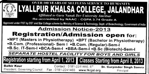 MPT and BSc Courses etc (Lyallpur Khalsa College of Boys)