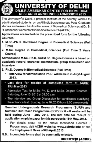 MSc and PhD (Delhi University)