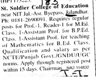 Asstt Professor (St Soldier College of Education)