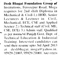 HoD and Lecturers (Desh Bhagat Foundation Group of Institute)