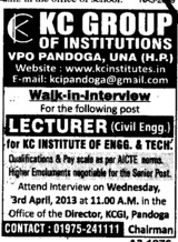 Lecturer in Civil Engg (KC Group of Institutions)