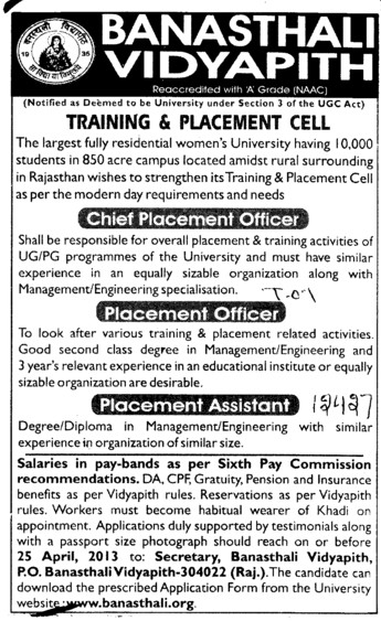 Chief Placement Officer and Placement Officer (Banasthali University Banasthali Vidyapith)