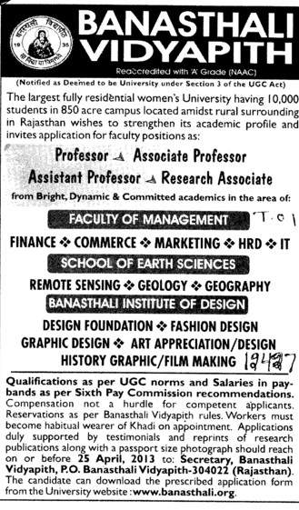 Associate Professor and Research Associate (Banasthali University Banasthali Vidyapith)