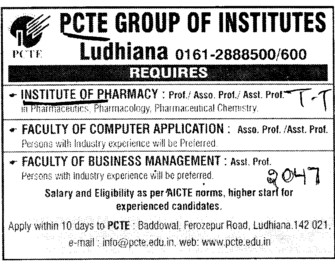 Professor, Asstt Professor and Associate Professor (PCTE Group of Insitutes Baddowal)