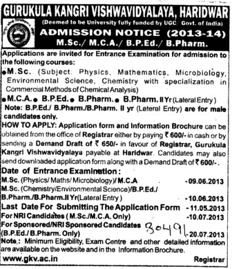 MSc, MCA and BPEd Courses (Gurukul Kangri Vishwavidyalaya)