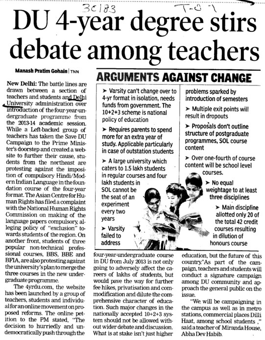 4 years degree debate among teachers (Delhi University)