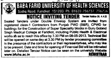 Const of Super Speciality blocks (Baba Farid University of Health Sciences (BFUHS))