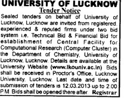 Central facility for Computational research (Lucknow University)