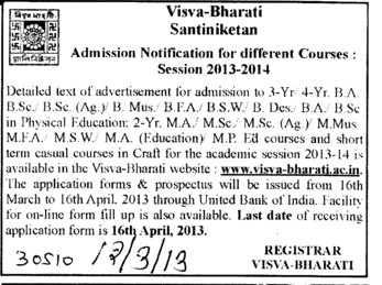 BA, BSc, BEA and MA Courses (Visva Bharati University)