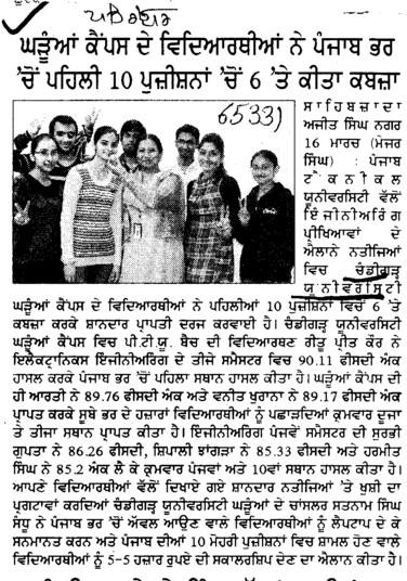 Ritu Preet Kaur topper in ECE (Chandigarh University)