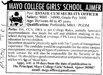 Estate cum Security Officer (Mayo College)