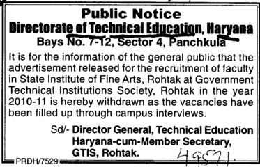 Recruitment for faculties (Directorate of Technical Education Haryana)