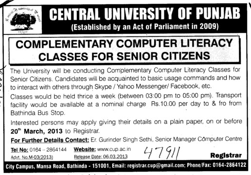 Complementary Computer Literacy classes for Senior citizens (Central University of Punjab)