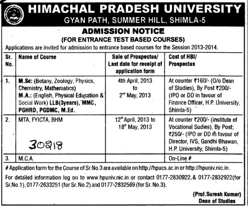 MSc, MTA and BHM (Himachal Pradesh University)