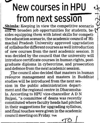 New courses in HPU from next session (Himachal Pradesh University)