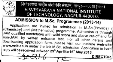 MSc Programmes (Visvesvaraya National Institute of Technology (VNIT))