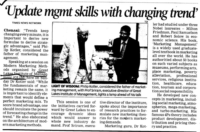 Update mgmt skills with changing trend (Great Lakes Institute of Management)