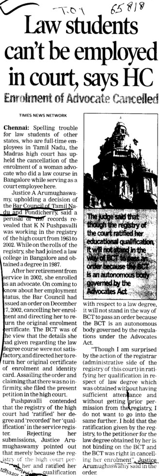 Law Students cant be employed in court, HC (Bar Council of Tamil Nadu)