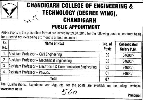 Asstt Professor in Civil Engg (Chandigarh College of Engineering and Technology (CCET))