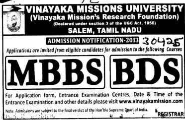 MBBS and BDS Courses\ (Vinayaka Missions University)