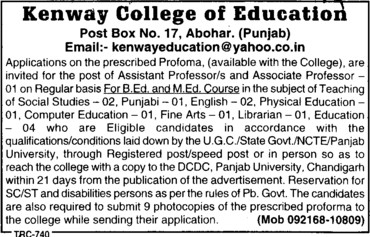 Asstt Professor and Associate Professor (Kenway College of Education)