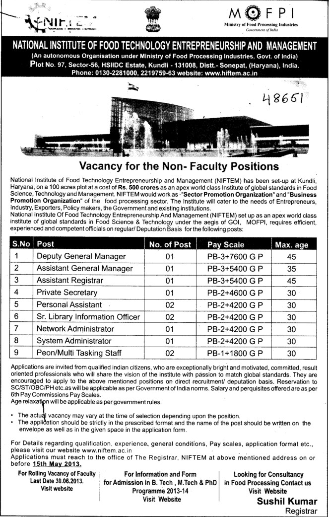 Deputy General Manager and Pvt Secretary (National Institute of Food Technology Entrepreneurship and Management (NIFTEM))