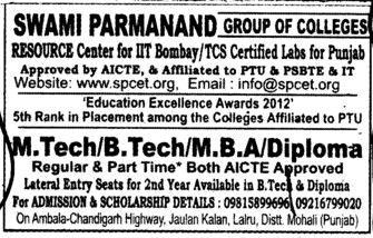 BTech and MTech (Swami Parmanand Group of Colleges)