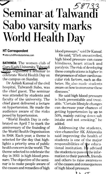 Seminar on World Health Day (Guru Kashi University)