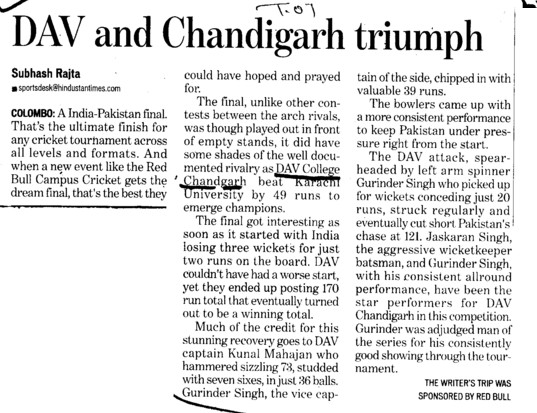 DAV and Chandigarh triumph (DAV College Sector 10)