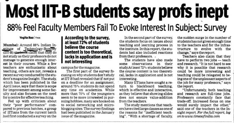 Students say profs inept (Indian Institute of Technology (IITB))