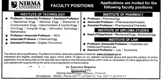Professor, Asstt Professor and Associate Professor (Nirma University)