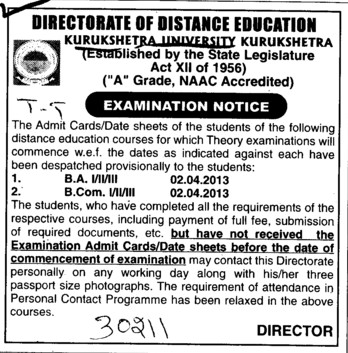 Examination Notice of BA and BCom (Kurukshetra University)
