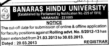 Submission of Faculty positions (Banaras Hindu University)