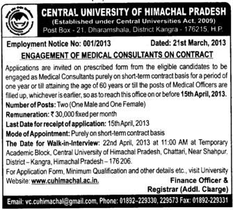 Medical Consultants (Central University of Himachal Pradesh)