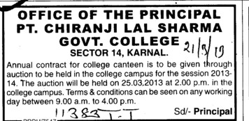 Contract for College Canteen (Government Post Graduate College)