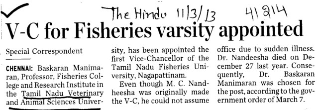 VC for fisheries varsity appointed] (Tamil Nadu Veterinary And Animal Sciences University TANUVAS)