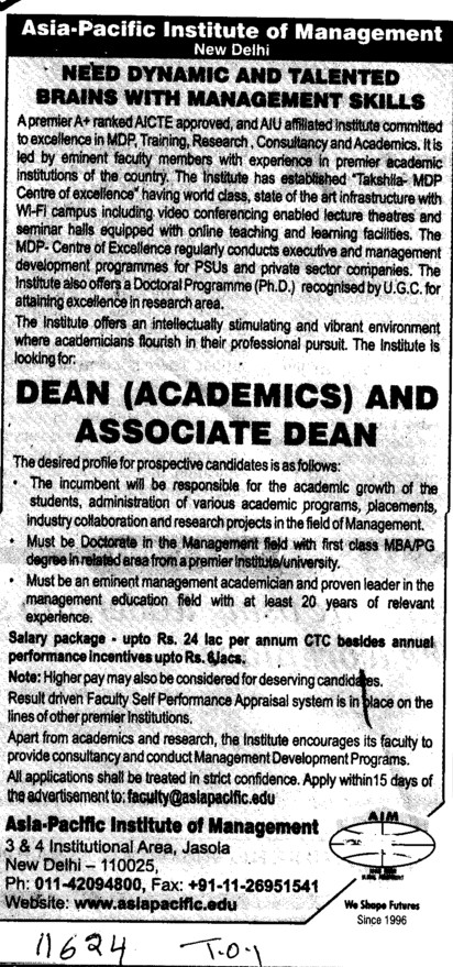 Dean and Associate Dean (Asia Pacific Institute of Management)