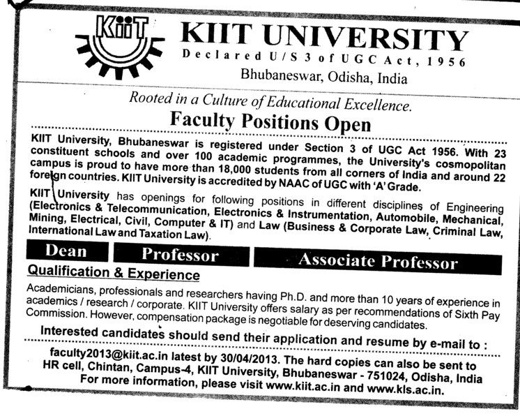 Dean, Professor and Asstt Professor (KIIT University)