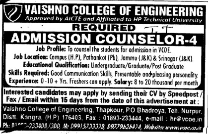 Admission Counsellor (Vaishno College of Engineering)