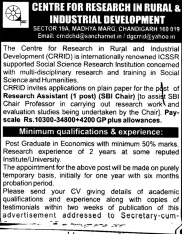 Research Assistant (Centre for Research in Rural and Industrial Development (CRRID))