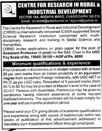 Asstt Professor (Centre for Research in Rural and Industrial Development (CRRID))