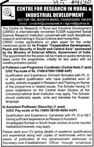 Professor cum Programme coordinator (Centre for Research in Rural and Industrial Development (CRRID))