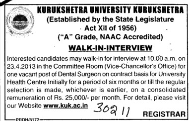 Dental Surgeon (Kurukshetra University)