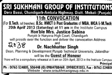 11th Convocation 2013 (Sri Sukhmani Group of Institutes)